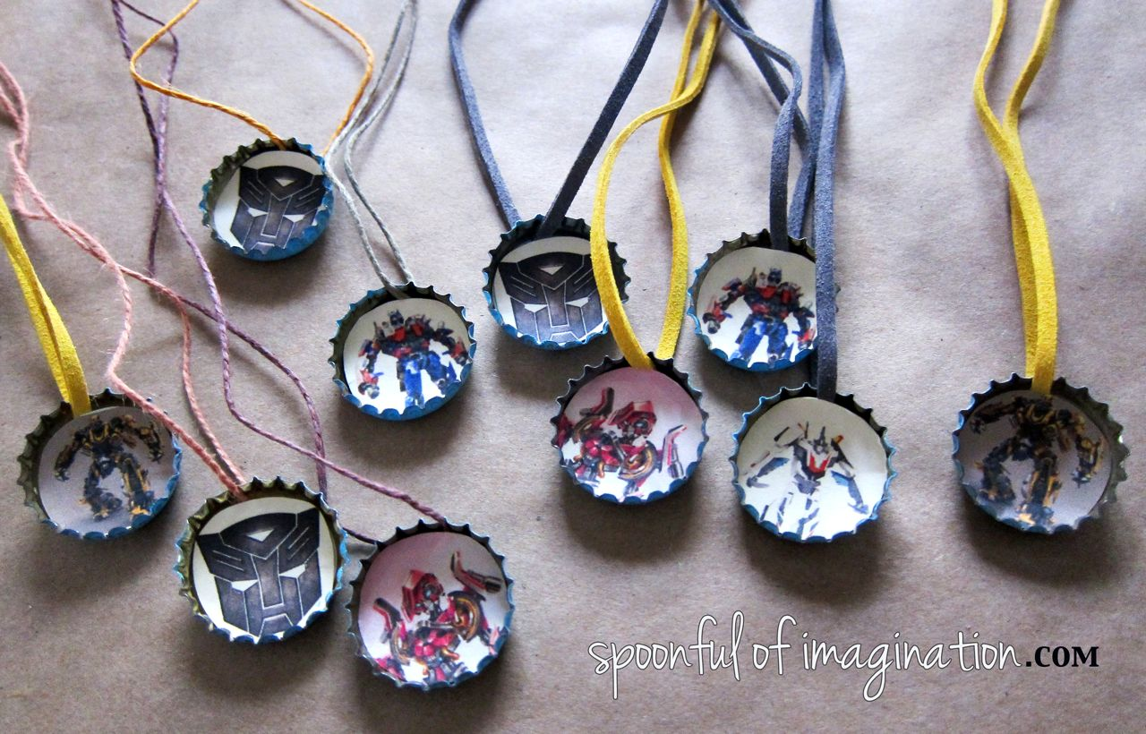 Diy transformer necklace and game spoonful of imagination for Beer cap jewelry