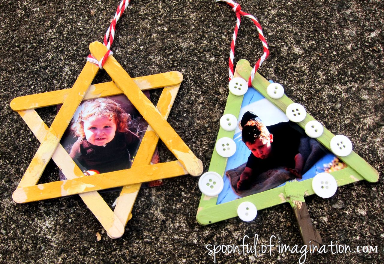 Christmas tree picture frame ornaments - 6 Popsicle Ornaments