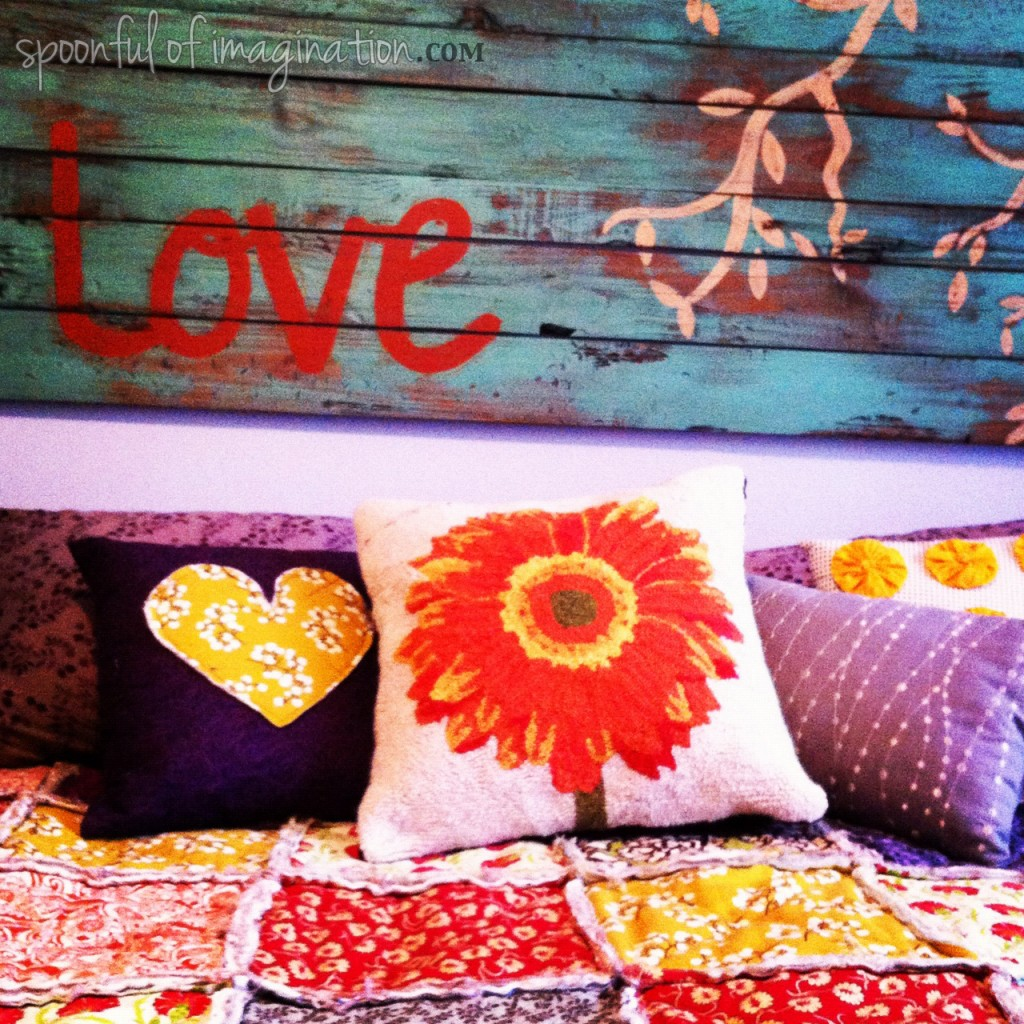 colorful bed with pillows