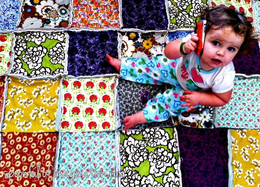 girl on a quilt