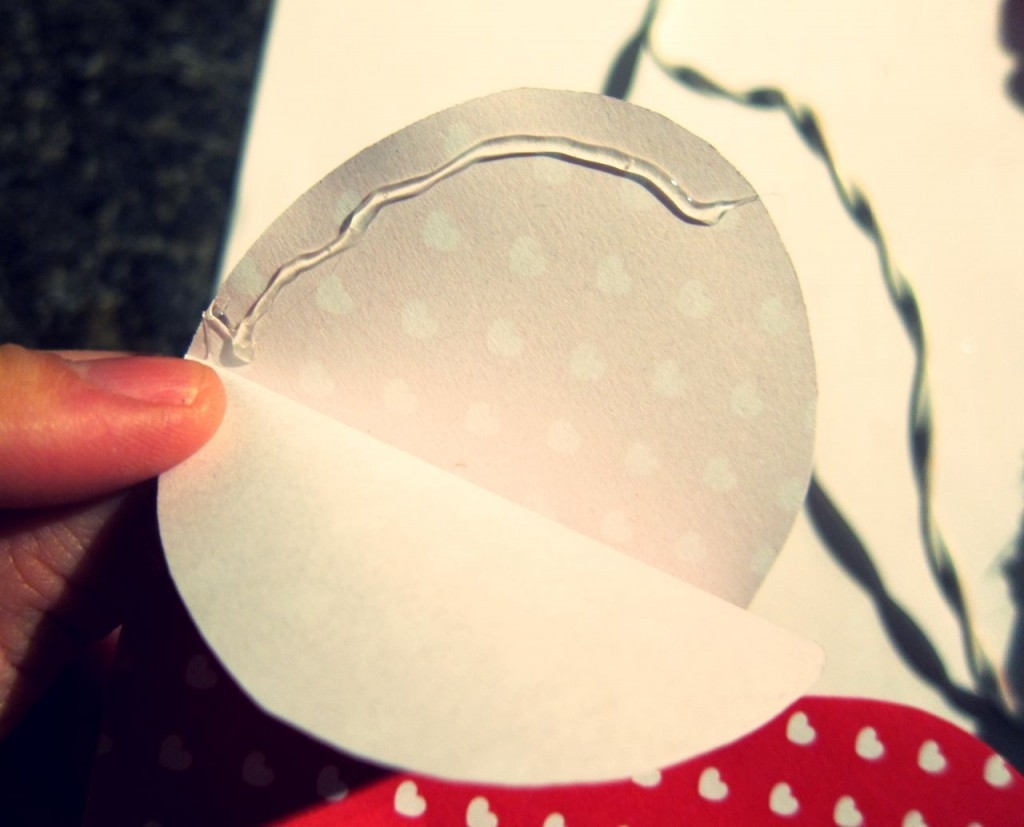 glueing craft heart