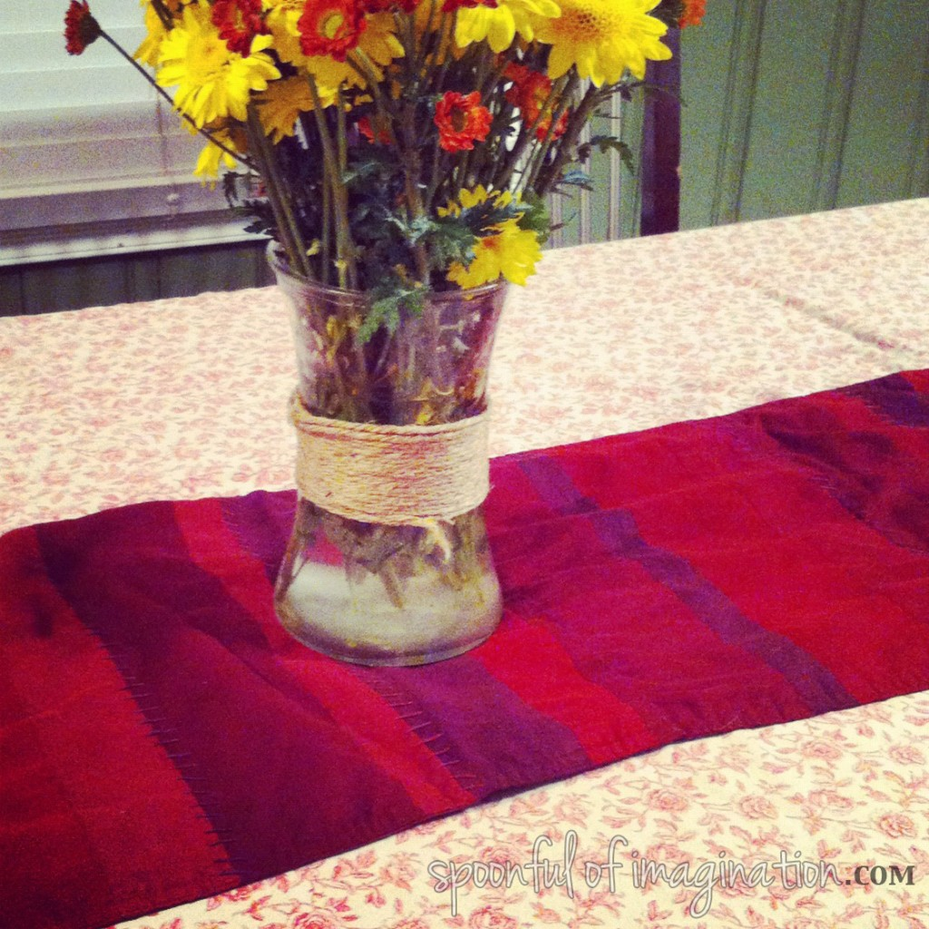 vintage table with flowers