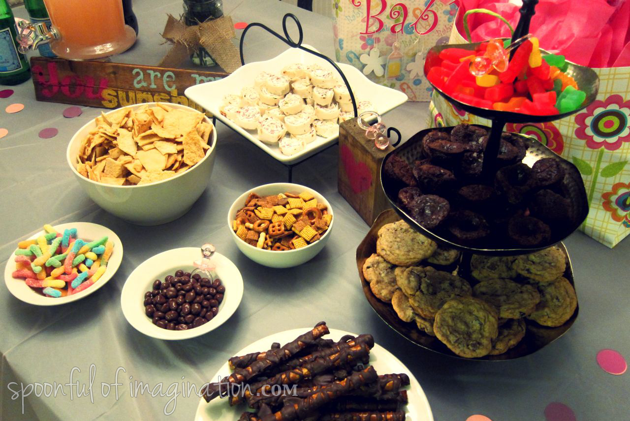 girl baby shower food table