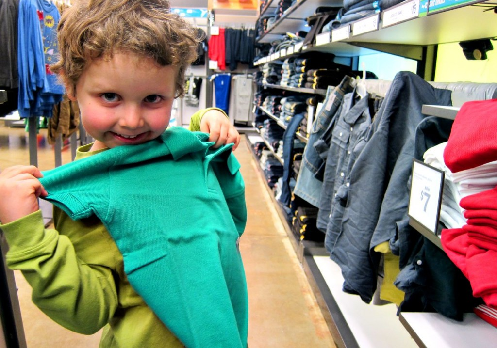 picking out shirts at old navy