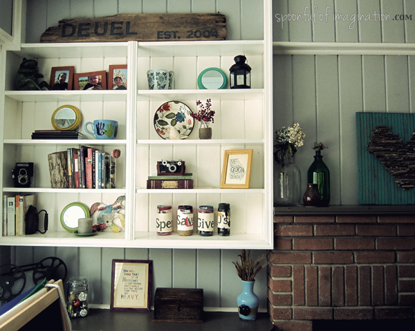 staged shelves
