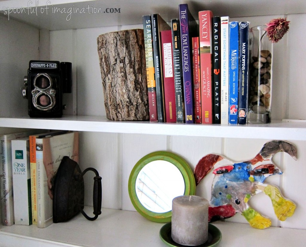 natural elements on book shelves
