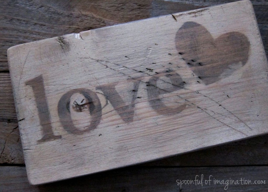 vintage love wood sign