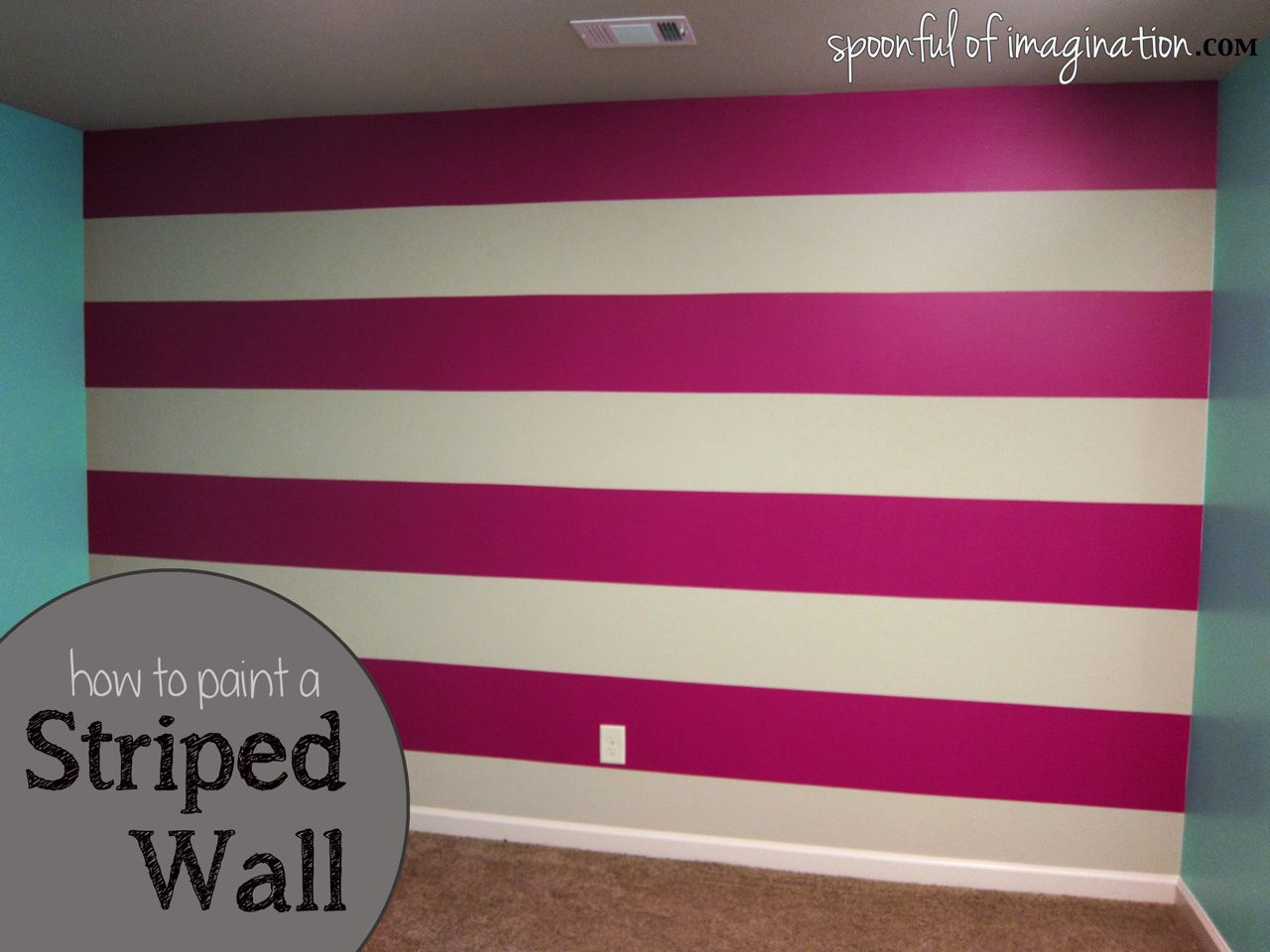 Diy wall stripes spoonful of imagination How to paint a bedroom wall