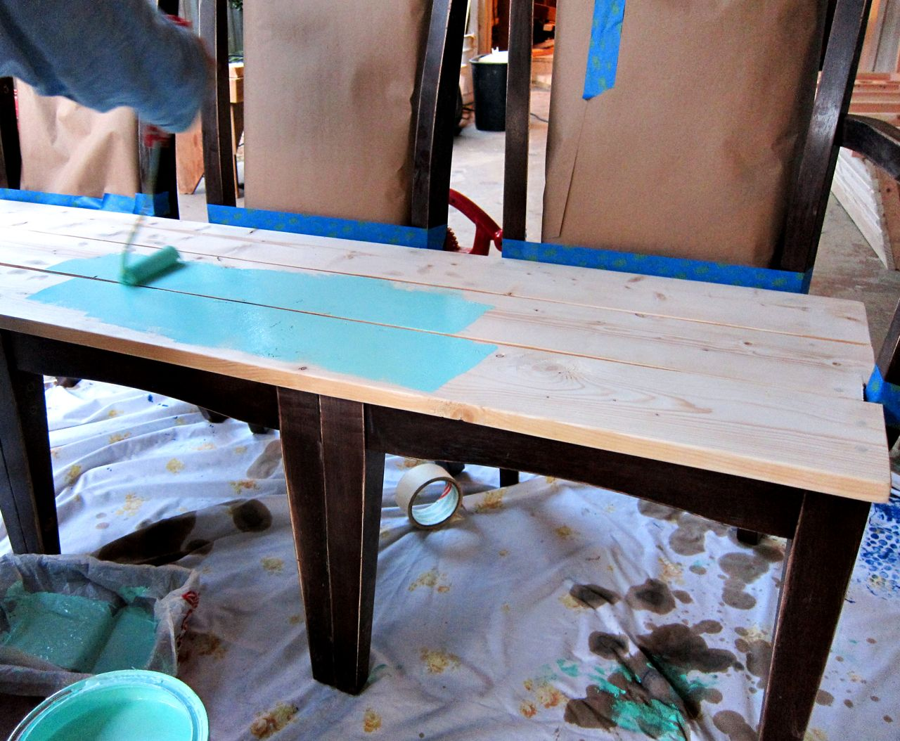 Painting A Wood Bench. Full resolution  snapshot, nominally Width 1280 Height 1054 pixels, snapshot with #2280A9.