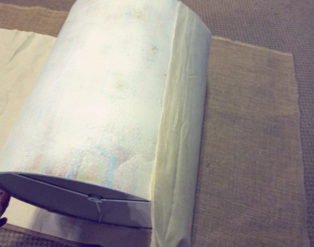 hot gluing lampshade liner