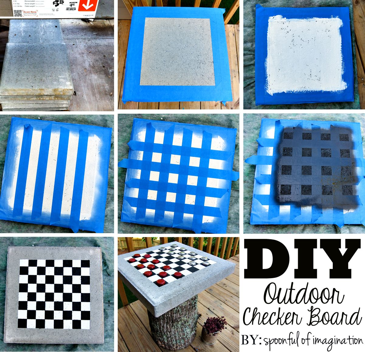 DIY Outdoor Checker Board - Spoonful of Imagination