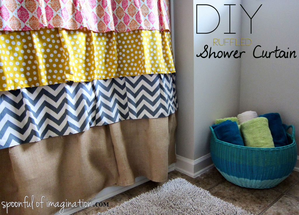 DIY Ruffled Shower Curtain - Spoonful of Imagination