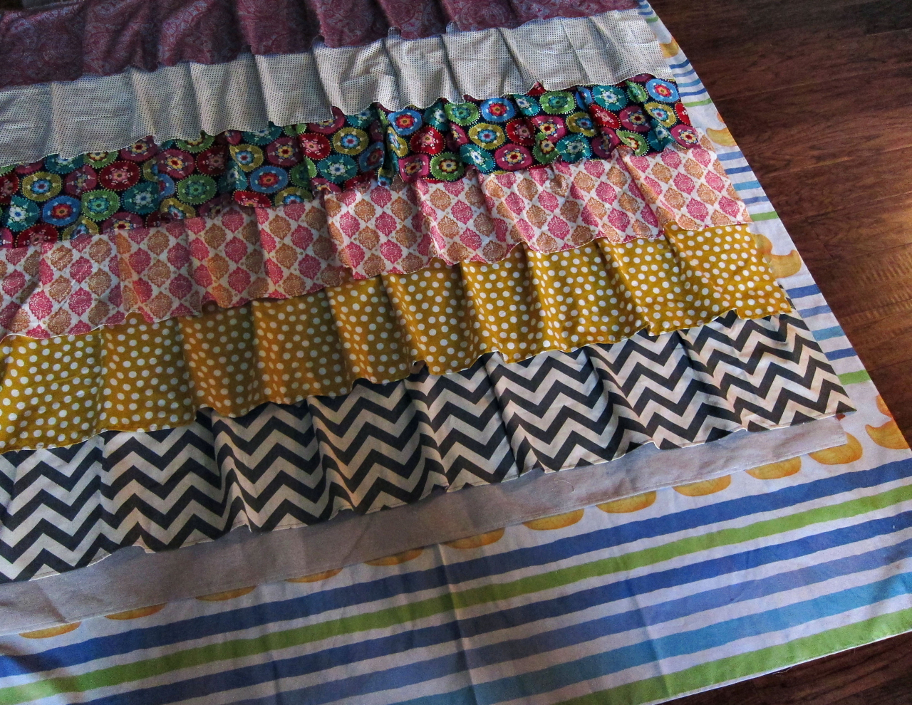 Shower curtain quilt pattern - I Decided To Line Burlap And Create A Ruffle Using That For The Bottom Of My Shower Curtain I Decided That The Contrast In Fabrics Would Look Good