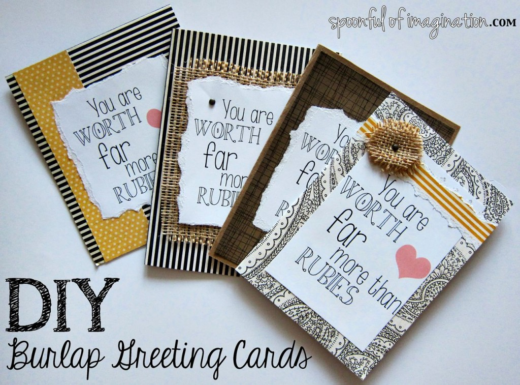 DIY Burlap Greeting Cards - Spoonful of Imagination