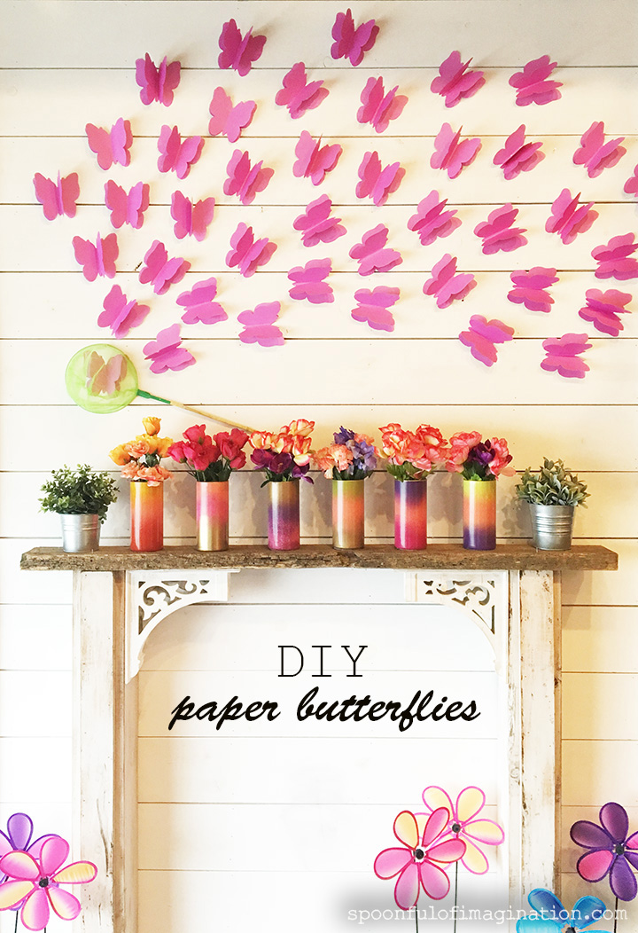 Diy Paper Butterflies Spring Decor For Cheap Spoonful Of Imagination